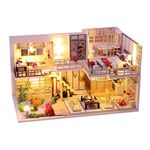 wuxiaobo DIY Hut Handmade Jinghe Yaju Girl Heart Small House Model Assembled Art Villa Toy Christmas Birthday Gift Girl (with Music, with Dust Cover, Without Glue, Battery and Production Tools)