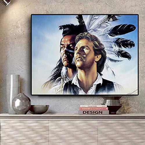 RTCKF Native Indian Feather Kopfschmuck Mann Porträt Leinwand Kunst Skandinavische Poster und Drucke Wandbild für Wohnzimmer A5 70X120CM