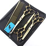 HJTLK Professional Dog Hairdressing Shears,Hair Cutting Scissors Gold 7 Inch Japan 440c Pet Scissors Set Grooming Tools Kits for Haircut Puppy Cat