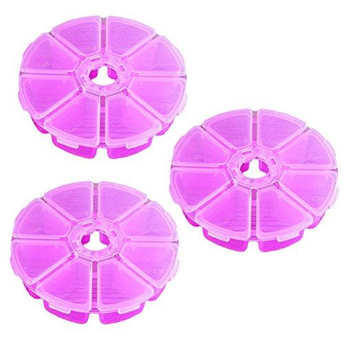 Demarkt 3 Pcs Boîte de Rangement en Plastique Organisateur de Tiroir Coffres de Rangement pour Pilules de Bonbons de Bijoux Etc - 8 Grille,Rose,10.2cm *2.4cm