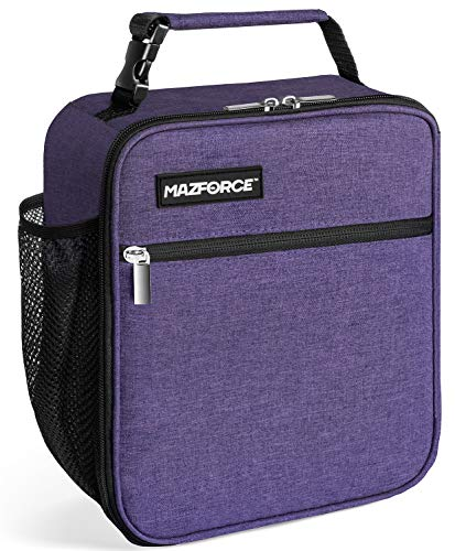 MAZFORCE Original Lunch Bag Insulated Lunch Box - Tough & Spacious Adult Lunchbox to Seize Your Day (Purple - Lunch Bags Designed in California for Men, Adults, Women)