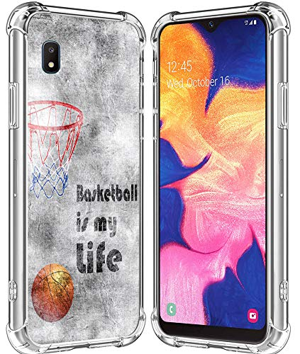 A10E Case/IWONE Designer Rubber Durable Protective Skin Transparent Cover Shockproof Compatible with Samsung Galaxy A10E Creative Basketball Writings Ball is Life