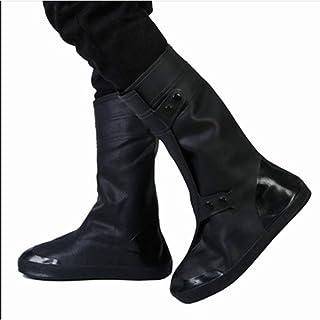防水靴カバー 雨の靴カバー男性と女性の防水雨の日厚い滑り止めの耐摩耗性の下の大人の雨のブーツセットブラックハイチューブスノーシューズカバー靴カバー雨の雪