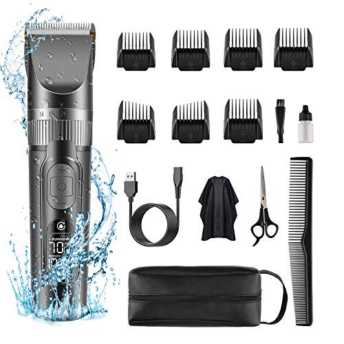 Hair Clippers for Men SUPRENT Cordless Hair Clippers, IPX6 Waterproof Design, Professional Titanium & Ceramic Hair Clippers For Barbers with 5 Adjustable Speed Settings & LCD Display