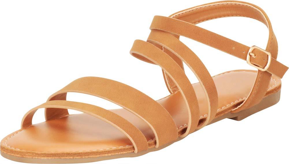 Cambridge Select 女式露趾系带平底凉鞋