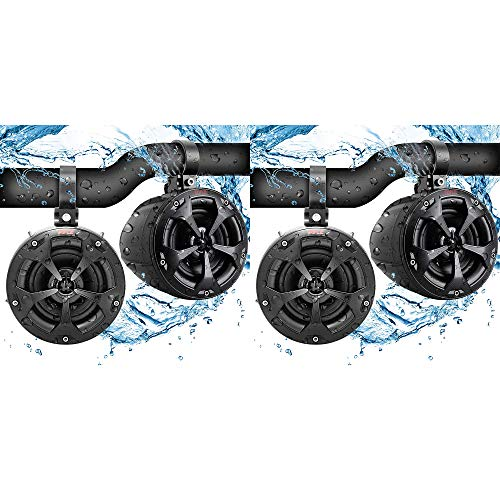 Pyle PLUTV41BK Rugged Outdoor 2 Way 4 Inch Off Road 800W Dual Waterproof Marine Speaker System Pair for Motorcycles, Boats, ATVs, and Other Vehicles (2 Pairs)