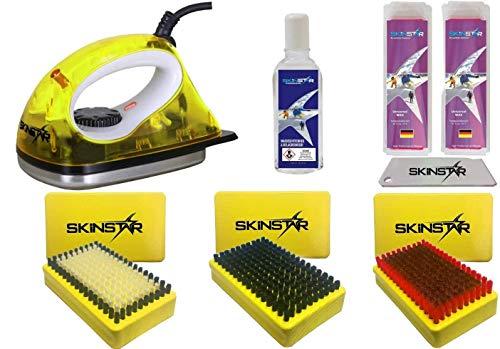 SkinStar Starter Ski Wachs Set, Wachsbügeleisen, Bürsten, Wachs, Reiniger 7-teilig