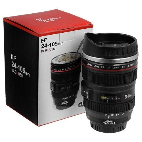 Camera Lens Plastic Coffee Mug With Lid 350ml Black
