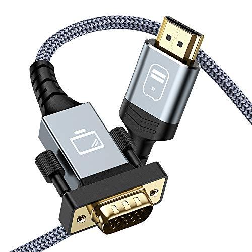 HDMI auf VGA Kabel - Snowkids 1,8 m HDMI zu VGA Kabel Vergoldet &Aluminiumschale Konverter Nylon geflochten 1080P @60Hz Kompatibel für Computer, Desktop, Laptop, PC, Monitor, Projektor, HDTV