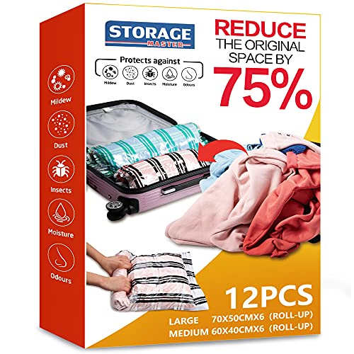 12 Compression Bags, Travel Space Saver Bags for...