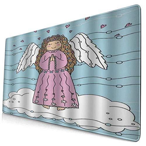 DYCBNESS Alfombrilla de Ratón Gaming Funky Alas de ángel Chica en Las Nubes For Love Corazones navideños Doodle Azul Celeste pálido Blanco Superficie Texturizada Antideslizante para Gamers Oficina