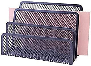 Black 3 Slot Mesh Sorter Organizer, Great for Mail, Bills & Documents. Organized Paper Holder. By Stationary Station