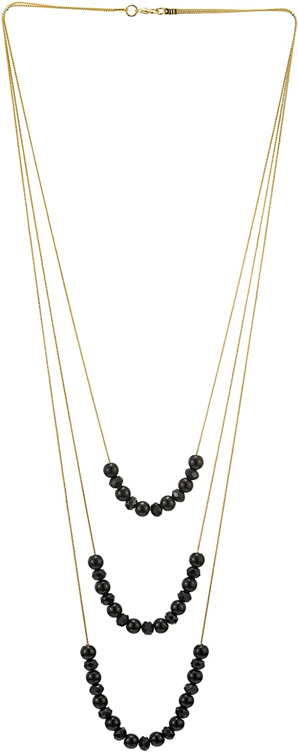Gold Statement Necklace Three-Strand Waterfall Long Chains with Black Gem Stone Beads String Pendant