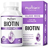Biotin 10000mcg with Coconut Oil for Hair Growth, Natural Hair, Skin and Nails Vitamins - High...