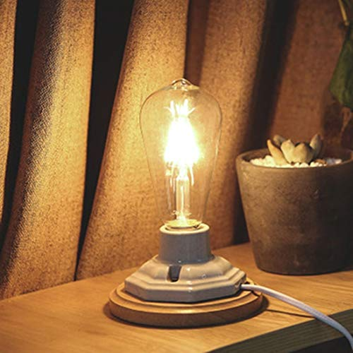 Zaklamp Persoonlijkheid Simple Creative Thuis Slaapkamer Nachtlampjes decoratieve verlichting tafellamp zonder Lichtbron Task Light for Room (Color : Ceramic+Wood Base)