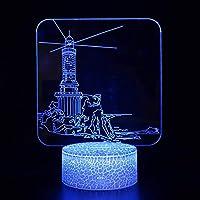 3Dイリュージョンナイトライト 建物 溶岩亀裂ベース キッズ3DLEDナイトライトファッション7色段階的に変化するスマートタッチスイッチUSBテーブルランプホリデークリスマスおもちゃギフト家の装飾