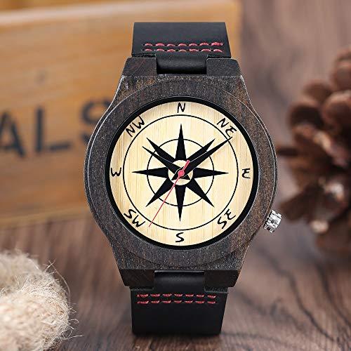 RWJFH Reloj de Madera Reloj de Madera para Hombre Reloj de Pulsera de Cuero Negro de Cuarzo con brújula Reloj de Madera para Hombre