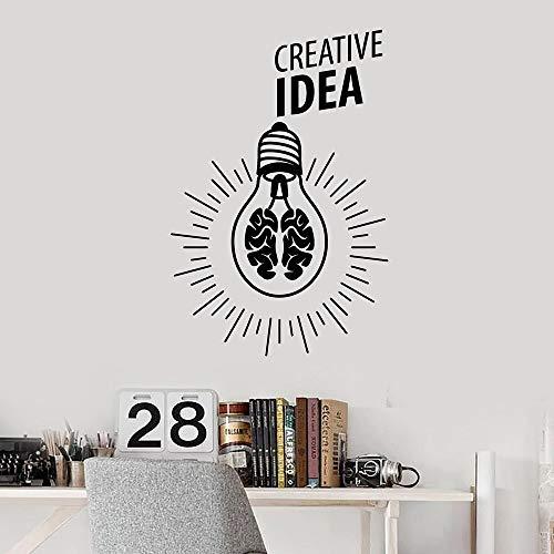 HNXDP Lampe Licht Gehirn Kreative Idee Wandaufkleber Für Büro Vinyl Wandtattoo Decor Wohnzimmer Jugendzimmer Moderne Dekoration W40742x62 cm