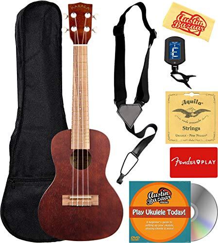 Kala MK-C Makala Concert Ukulele Bundle with Gig Bag, Tuner, Strap, Aquila Strings, Online Lessons, Austin Bazaar Instructional DVD, and Polishing Cloth