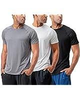 DEVOPS Men's 3 Pack Cool Chain Sports Active Hyper-Dry Workout Short Sleeve T-Shirts, (Regular-fit) Black / Heather Grey / White, Large