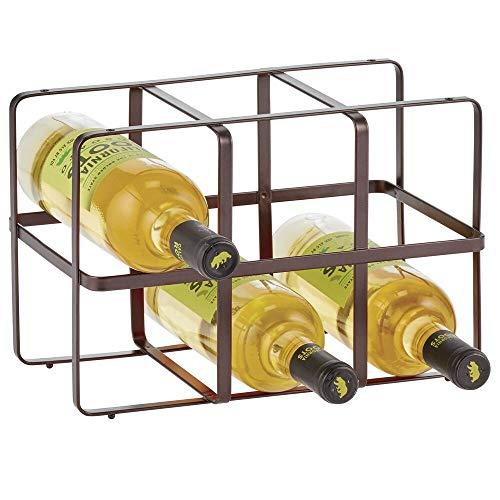 mDesign Botellero para vino – Estante para botellas de atractivo diseño – Botellero de metal con capacidad para 6 botellas – color bronce