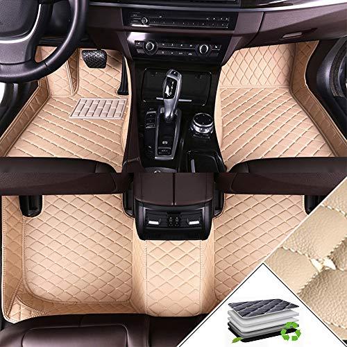 ALLYARD Auto-Fussmatten Für Volks Wagen VW EOS 2005-2016 Schrägheck Autofußmatten Volldeckung XPE Leder Autoteppiche Schutzmatten Anti-Rutsch-Teppich Beige