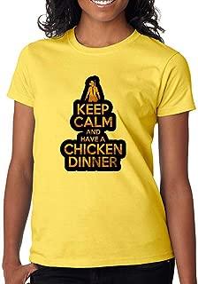 Gamer Fan Keep Calm and Have Chicken Dinner Custom Made Women's T-Shirt