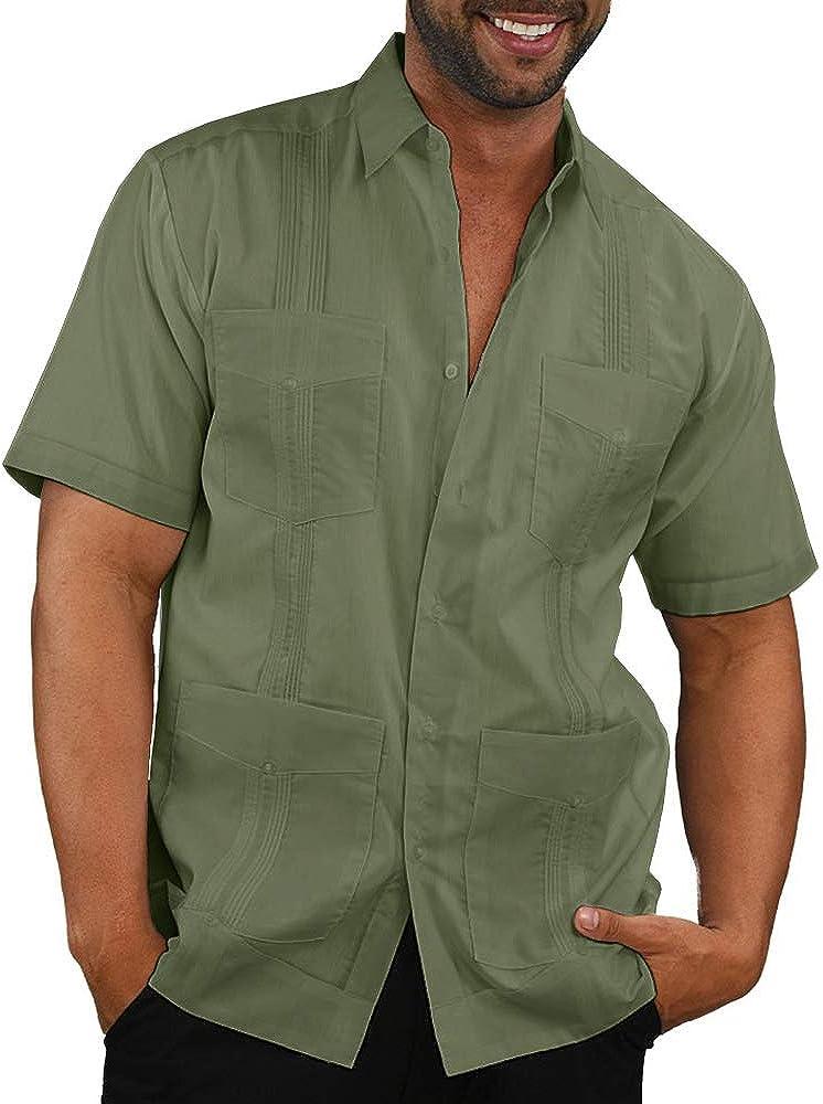 Camisa de manga corta con botones para hombre, estilo informal, con bordado de Guayabera