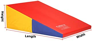 gymmatsdirect Folding Gymnastics Incline Mat Large Cheese Wedge Ramp Skill Shape Triangle Tumbling Mats for Kids Play...