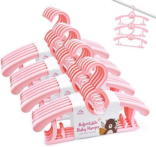 Anstore 20 Stück Mitwachsende Kinderkleiderbügel Platzsparend mit Stapelbaren Bärchen-Haken Rutschfeste Kleiderbügel für Babys und Kleinkinder, Rosa