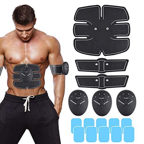 Faburo Stimolatore Muscolare per Addome, Elettrostimolatore Muscolareper Braccio Gamba Vita Gambe Home Gym con 10PCS Gel Pezzi per Uomo o Donna