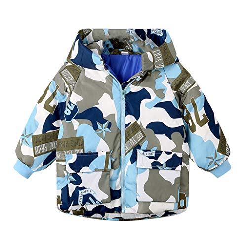 Allence Abrigo con capucha para bebé, abrigo infantil para niños, niñas, abrigo grueso acolchado de camuflaje, chaqueta de invierno azul 90 cm