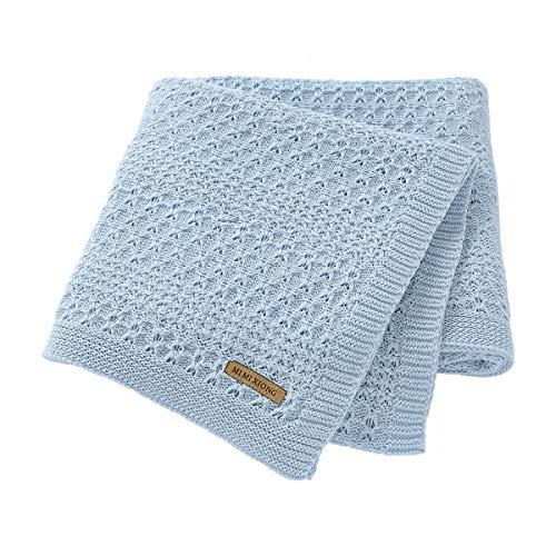 mimixiong Cobija para bebé de algodón extra suave para cochecito y viaje, color azul