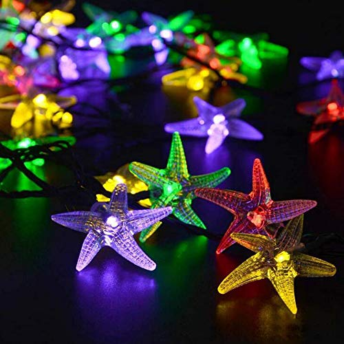 6M Outdoor String Lights Solar Powered Star Shaped Lamp 2 Lighting Modes Outside Hanging Lights for BBQ Camping Parties - Best Home Decor (Multicolor)