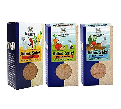 Sonnentor bio Gewürze - 3er Set Adios Salz: Gemüsemischung scharf, Gartengemüse, mediterran (je 55g) BIO-AT-301
