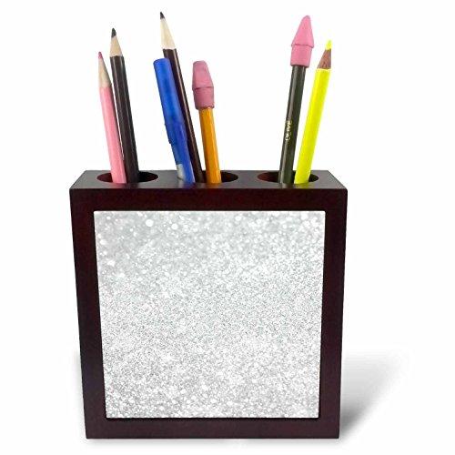 3dRose 252114_ PH 1, 2, 5cm von Sparkly Style Luxus-Fliesen –, silberfarben, mit Kartenhalter