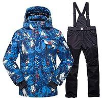 スノーボードウェア新しいホットスキースーツ男性冬新しい屋外防風防水サーマル男性スノーパンツセットスキーとスノーボードスキージャケット男性メンズ レディース保温 撥水 厚手 ストラッ (Size:Xxx Large; Color:Color 10)