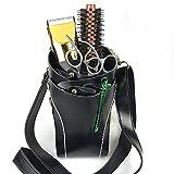 ベルトでバッグPUソフトレザー理髪キットプロフェッショナルポーチホルダーキャリング理髪ツール,黒
