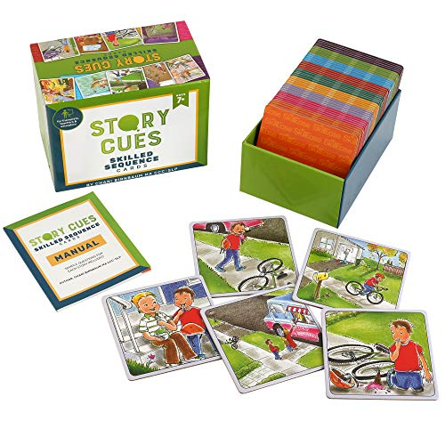 SkillEase Story Cues Skilled Sequence Cards an Educational Therapy Game for Storytelling, Social Skills and Critical Thinking Skills for Home Fun and Education, Tele Therapy, or Teaching
