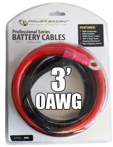 Power Bright 0-AWG3 0 AWG Gauge 3-Foot Professional Series Inverter Cables 3000-4000 watt