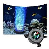 SZTC Luz de tanque de peces LED de buceo burbuja luz de noche LED colorido lento intermitente redondo disco de oxígeno que mejora la luz, acuario y pecera decoración