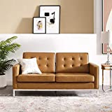 Modway EEI-3388 Loft Tufted Button Faux Leather Upholstered Loveseat in Silver Tan