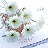 Quikhome 6 Pack Artifical Flowers Fake Silk Gerbera Flower Stem Bunch Faux Simulation Daisy Floral Bouquet for Home Office Garden Party Wedding Grave DIY Decoratio-White