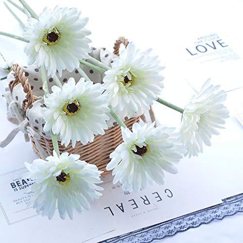 Quikhome - Juego de 6 flores artificiales, seda artificial, ramo de flores artificiales, diseño de margaritas de imitación para hogar, oficina, jardín, fiesta, boda, tumba, decoración de color