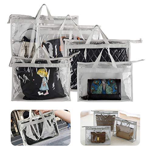 Organizador transparente de PVC para artículos de tocador con cremallera y asa, antipolvo, impermeable, para viajes y mujeres, 5 unidades