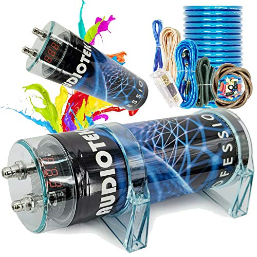 Audiotek at-3.5 Farad Capacitor with Car Audio 3500 Watts Power 12V Car Digital Power and Audiotek Complete BCC4AB 4 Gauge Amplifier Installation Wiring Kit Blue