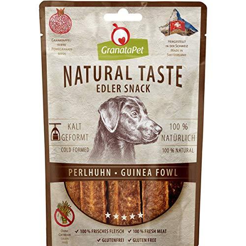 GranataPet Natural Taste Edler Snack Perlhuhn, Hundeleckerli ohne Getreide & ohne Zuckerzusätze, Belohnung für zwischendurch, schmackhafter Hundesnack, 90 g