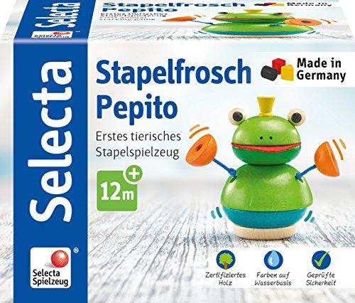 Selecta 62041 empilable Grenouille Pepito, Jouet empilable en Bois, 10 cm
