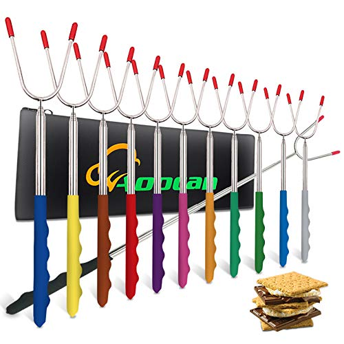 """Aoocan Marshmallow Roasting Sticks Set of 12 Extend 45"""" Smores Sticks for Fire Pit Safe Stainless Telescoping Forks Hot Dog, Campfire, Camping - Multicolor"""