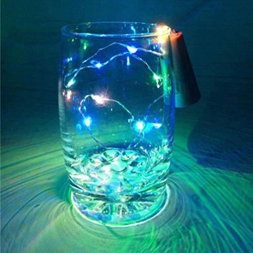 Janly - Lámpara solar para botella de vino con forma de corcho (10 ledes, luz de noche de hadas, LED, plástico, componente eléctrico., Multicolor, 10